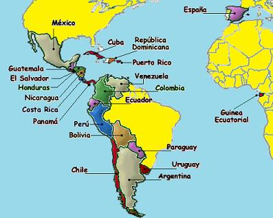 Image result for map spanish speaking countries