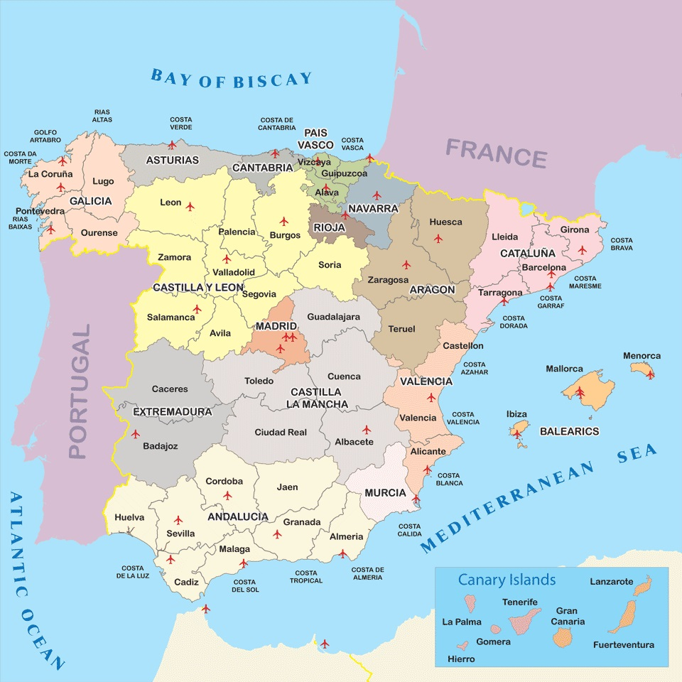 heres a map of spain showing the various provinces
