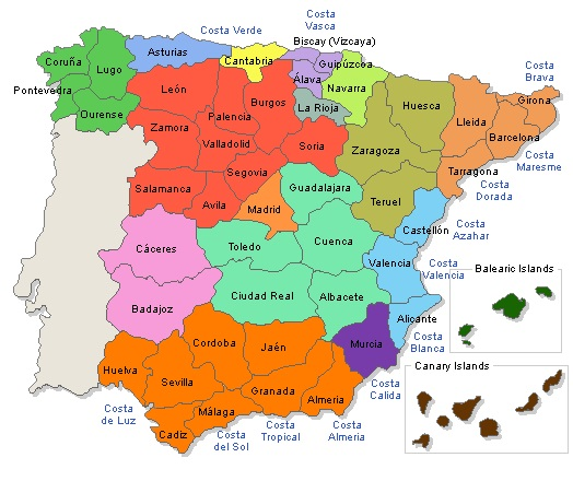 Map Of Spain With Regions.Spain Map Regions